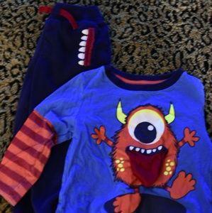 Boys Toddler Monster 2 piece Sleep Pajamas